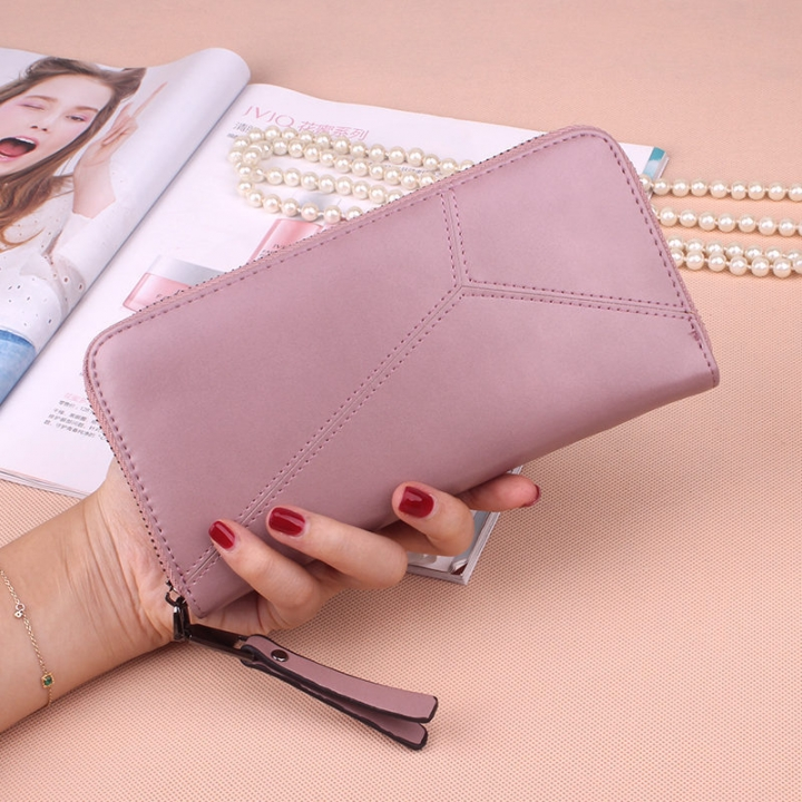 Ms Long Section Wallet Multi-card Bit Simple Fashion Holding Hands Wallet pink one size