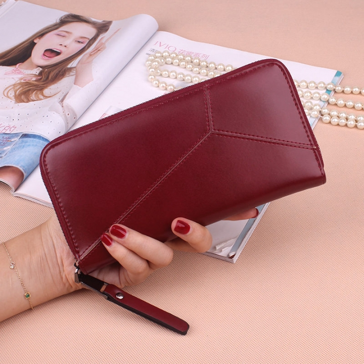Ms Long Section Wallet Multi-card Bit Simple Fashion Holding Hands Wallet Red wine one size