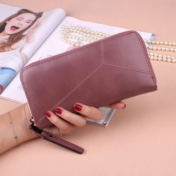Ms Long Section Wallet Multi-card Bit Simple Fashion Holding Hands Wallet Pink and purple one size