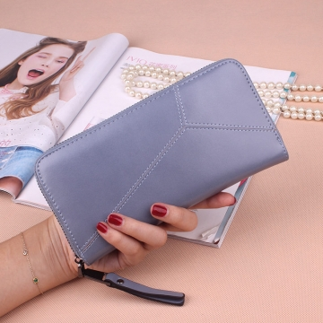 Ms Long Section Wallet Multi-card Bit Simple Fashion Holding Hands Wallet ligth blue one size