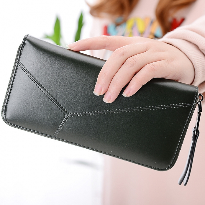 Ms Long Section Wallet Multi-card Bit Simple Fashion Holding Hands Wallet army green one size
