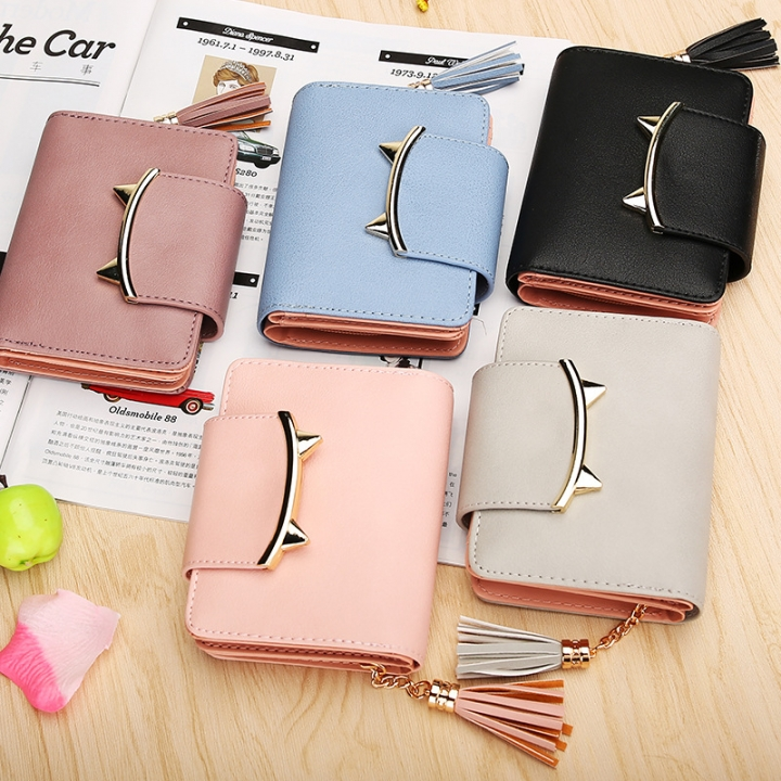 The New Ms Wallet Short Section Personality Tassel Zipper Lovely Coin Purse Student Small Wallet black one size