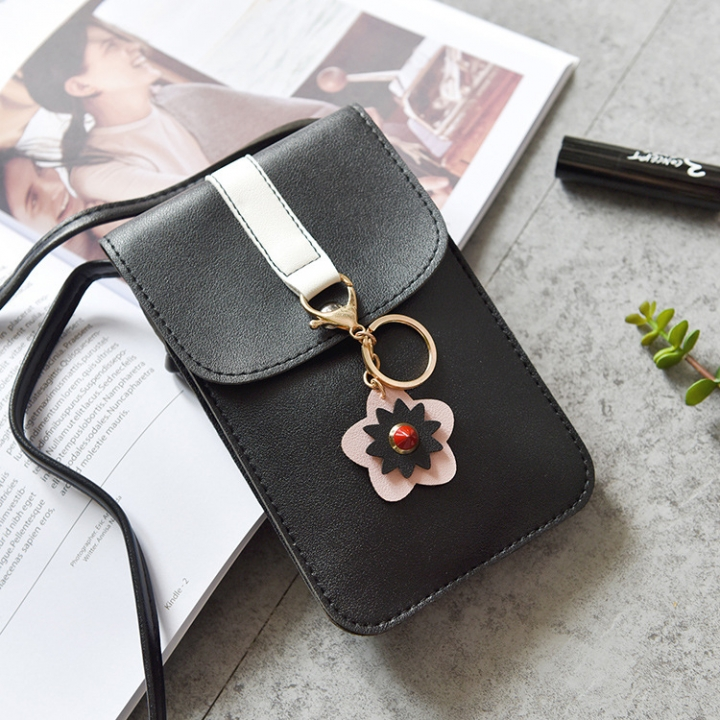 Ms Holding Hands Wallet Long Section Lovely Multifunction Wallet Messenger Mobile Phone Bag black one size