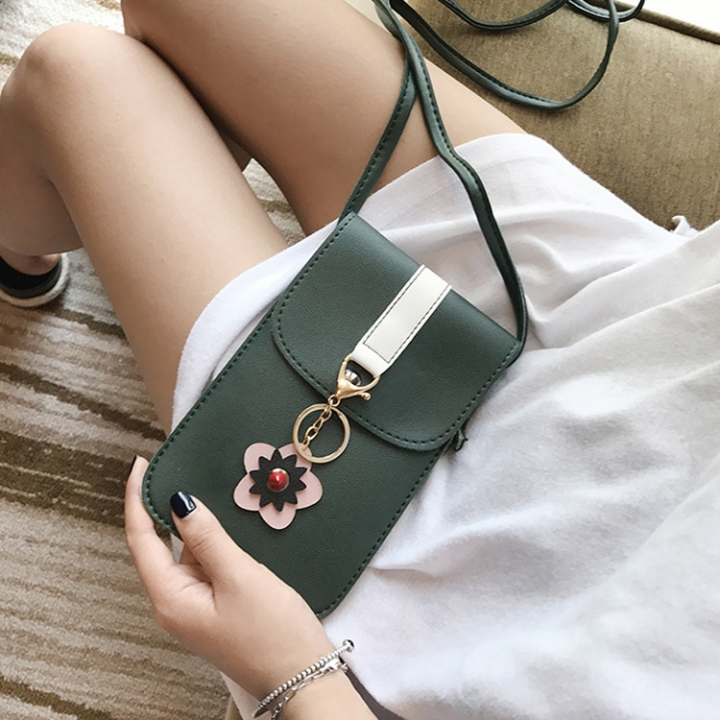 Ms Holding Hands Wallet Long Section Lovely Multifunction Wallet Messenger Mobile Phone Bag green one size