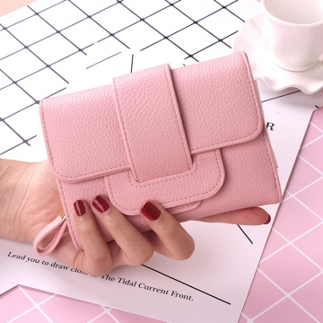 Retro Short Section Wallet Ms Simple Wild Three Fold Wallet Student Hand Bag pink one size