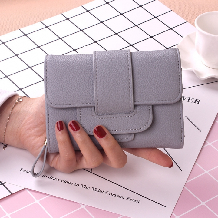 Retro Short Section Wallet Ms Simple Wild Three Fold Wallet Student Hand Bag gray one size