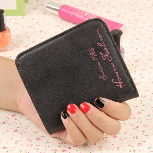 The New Scrub Wallet Short Section Ms Wallet Ultra-thin Models Mini Coin Purse Female Pickup Bag black one size