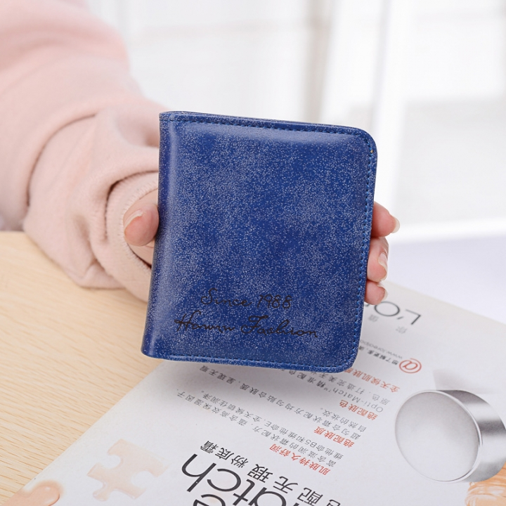 The New Scrub Wallet Short Section Ms Wallet Ultra-thin Models Mini Coin Purse Female Pickup Bag dark blue one size