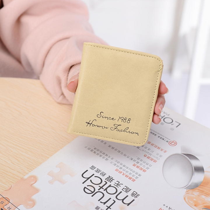 The New Scrub Wallet Short Section Ms Wallet Ultra-thin Models Mini Coin Purse Female Pickup Bag beige one size