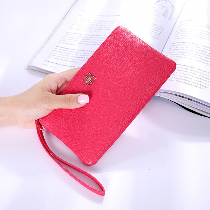 Ms Wallet Fashion Mobile Phone Bag Wallet Zipper Trend Leisure Hand Bag red one size