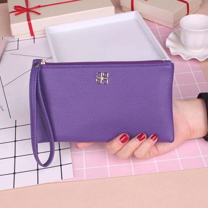Ms Wallet Fashion Mobile Phone Bag Wallet Zipper Trend Leisure Hand Bag purple one size
