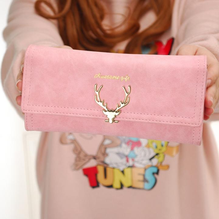 Ms Wallet Long Section Three Fold Deer Head Fashion Tide Cool Style Scrub Multi-Card Bit Wallet pink one size