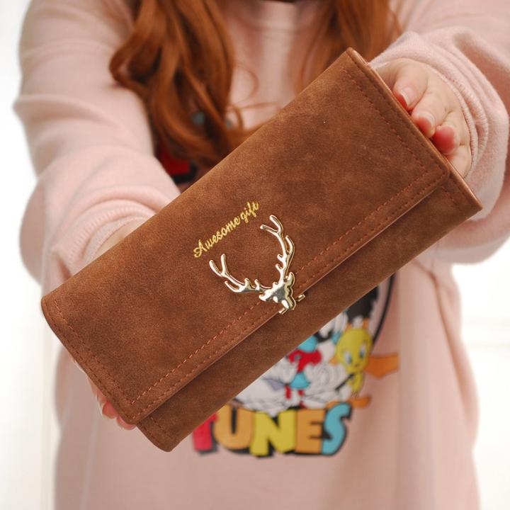 Ms Wallet Long Section Three Fold Deer Head Fashion Tide Cool Style Scrub Multi-Card Bit Wallet brown one size
