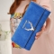 Ms Wallet Long Section Three Fold Deer Head Fashion Tide Cool Style Scrub Multi-Card Bit Wallet blue one size