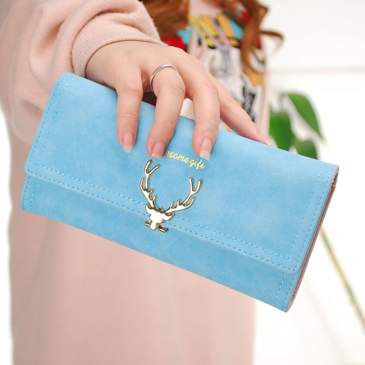 Ms Wallet Long Section Three Fold Deer Head Fashion Tide Cool Style Scrub Multi-Card Bit Wallet ligth blue one size