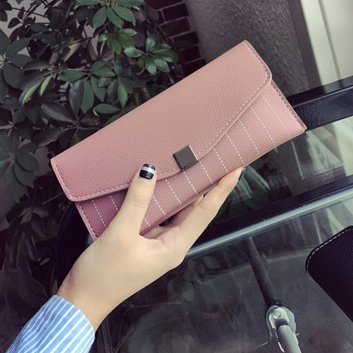 Ms Long Section Wallet Two Fold Multi-card Bit Fashion Leisure Wallet Hand Bag pink one size