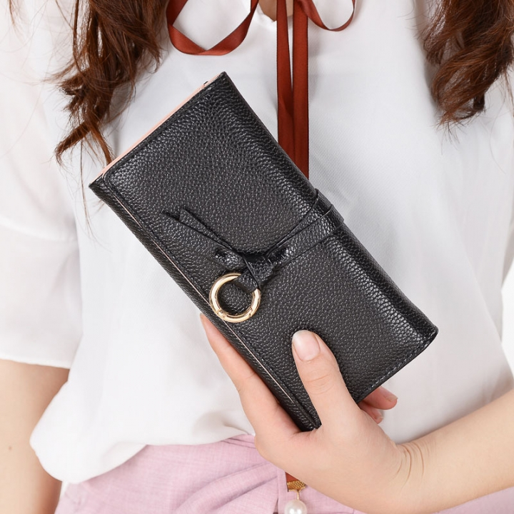 Ms Long Section Wallet Three Fold Litchi Pattern Simple Fashion Lovely High Capacity Change Wallet black one size