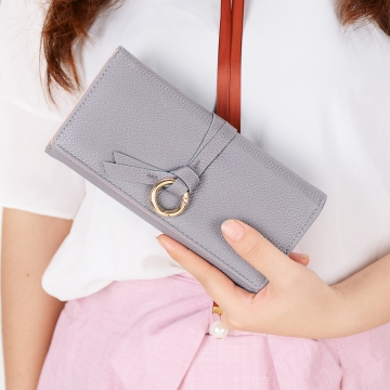 Ms Long Section Wallet Three Fold Litchi Pattern Simple Fashion Lovely High Capacity Change Wallet gray one size