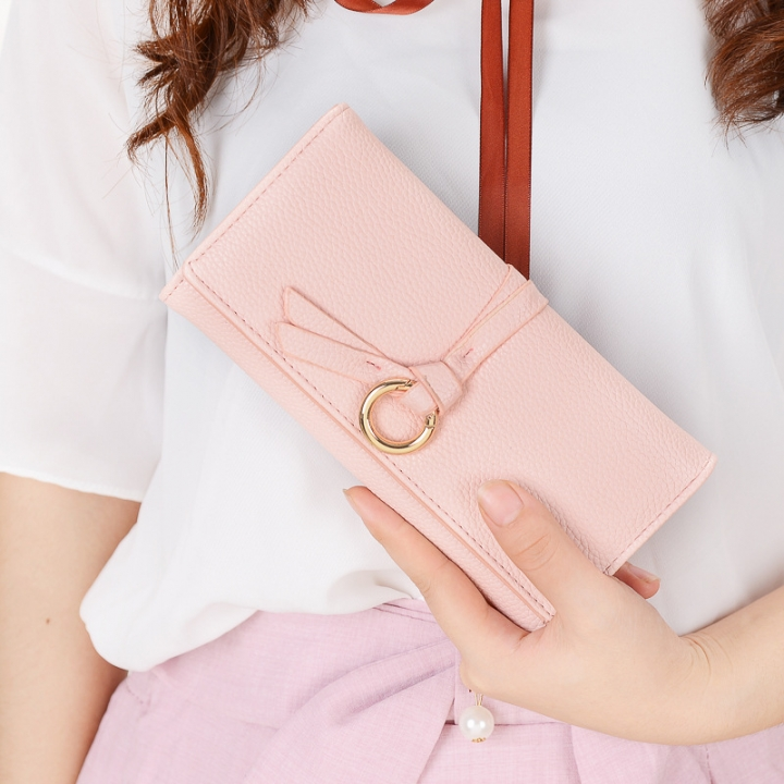 Ms Long Section Wallet Three Fold Litchi Pattern Simple Fashion Lovely High Capacity Change Wallet ligth pink one size