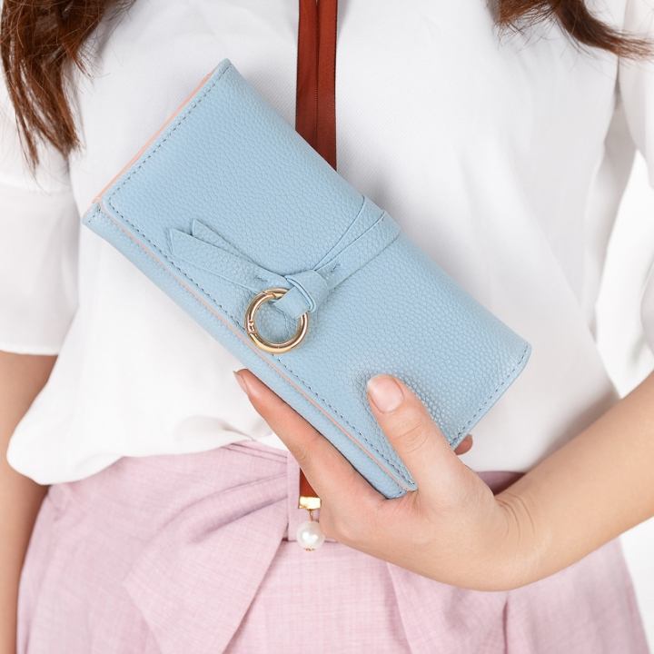 Ms Long Section Wallet Three Fold Litchi Pattern Simple Fashion Lovely High Capacity Change Wallet blue one size