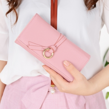 Ms Long Section Wallet Three Fold Litchi Pattern Simple Fashion Lovely High Capacity Change Wallet dark pink one size
