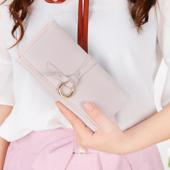 Ms Long Section Wallet Three Fold Litchi Pattern Simple Fashion Lovely High Capacity Change Wallet beige one size