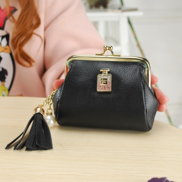The New Fashion Ultra Thin Small Wallet Tassel Pendant Ms Short Ssection Coin Purse black one size