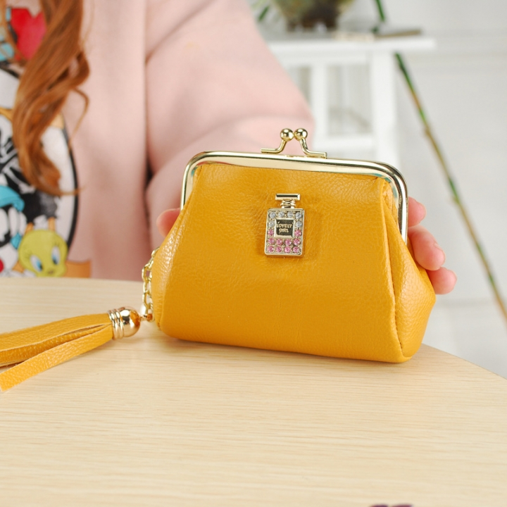 The New Fashion Ultra Thin Small Wallet Tassel Pendant Ms Short Ssection Coin Purse yellow one size