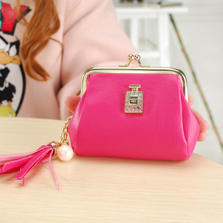 The New Fashion Ultra Thin Small Wallet Tassel Pendant Ms Short Ssection Coin Purse rose red one size