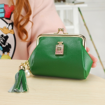 The New Fashion Ultra Thin Small Wallet Tassel Pendant Ms Short Ssection Coin Purse green one size