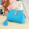 The New Fashion Ultra Thin Small Wallet Tassel Pendant Ms Short Ssection Coin Purse sky blue one size