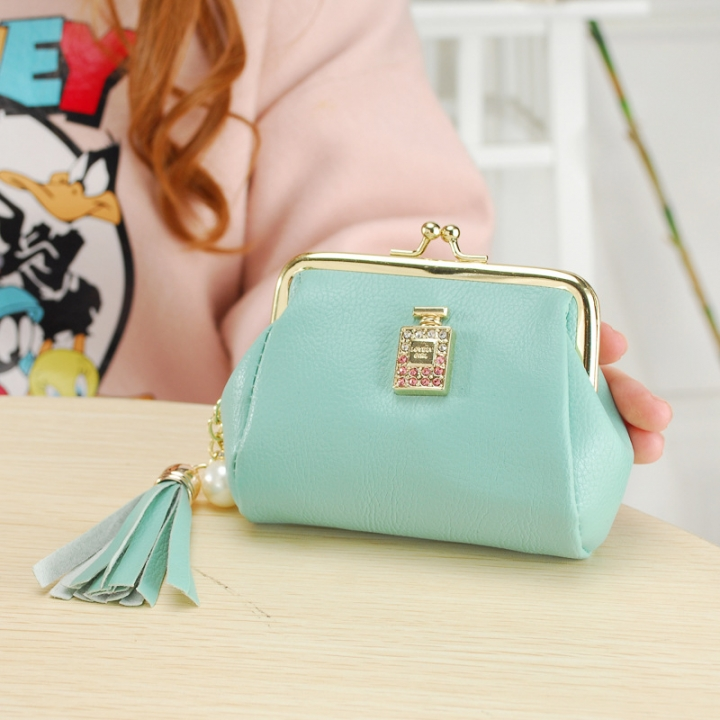 The New Fashion Ultra Thin Small Wallet Tassel Pendant Ms Short Ssection Coin Purse ligth green one size