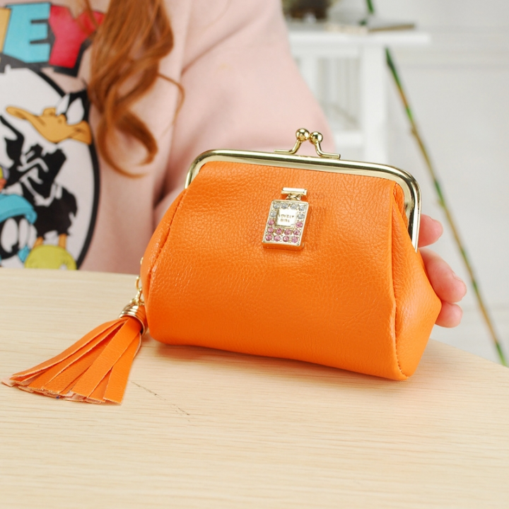 The New Fashion Ultra Thin Small Wallet Tassel Pendant Ms Short Ssection Coin Purse orange one size