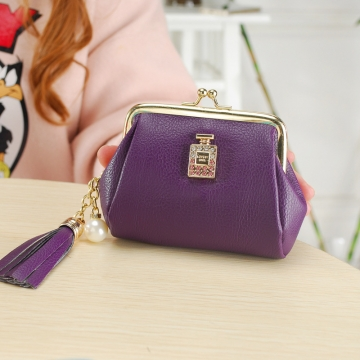 The New Fashion Ultra Thin Small Wallet Tassel Pendant Ms Short Ssection Coin Purse purple one size