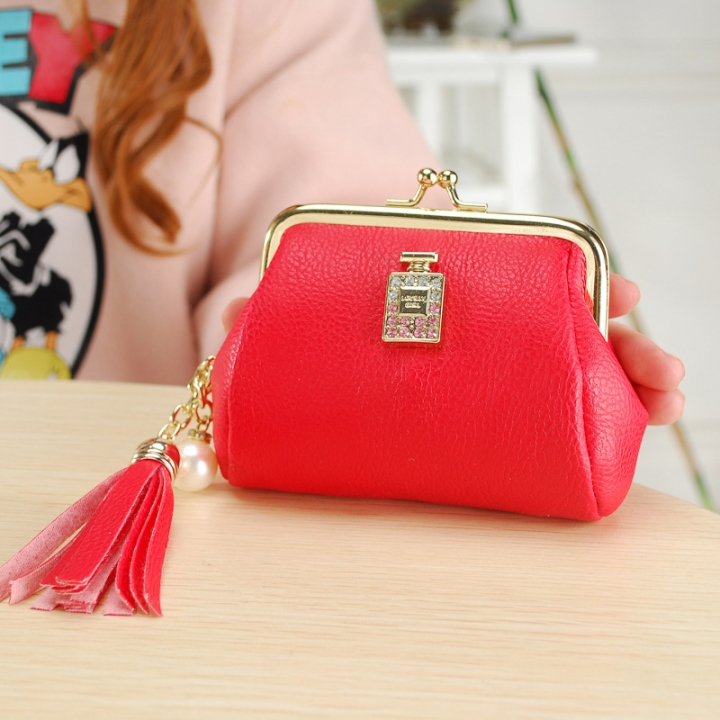 The New Fashion Ultra Thin Small Wallet Tassel Pendant Ms Short Ssection Coin Purse red one size
