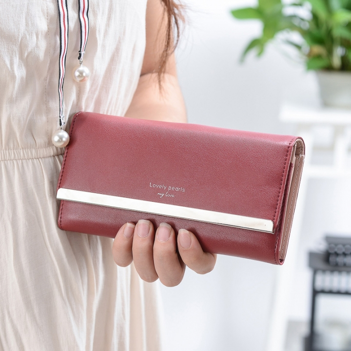 Western Style Retro High Capacity Ms Twists And Turns Wallet Fashion Metal Clip Holding Hands Wallet red wine one size