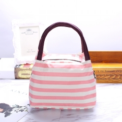 waterproof Lunch bag handbag stripe Ms Lunch bag Hand carry Fresh Simple large Insulation Lady bags red one size