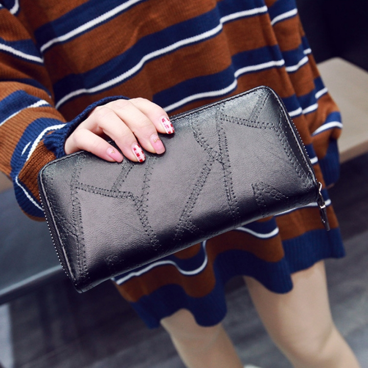 Simple Personality Ms Wallet Long Section Hand Bag Student Wallet Zipper Female Wallet black one size