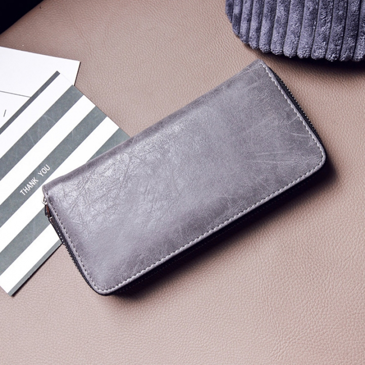 The New Ms Long Section Zipper Wallet Fashion Small Fresh Wallet Multifunction Hand Bag gray one size