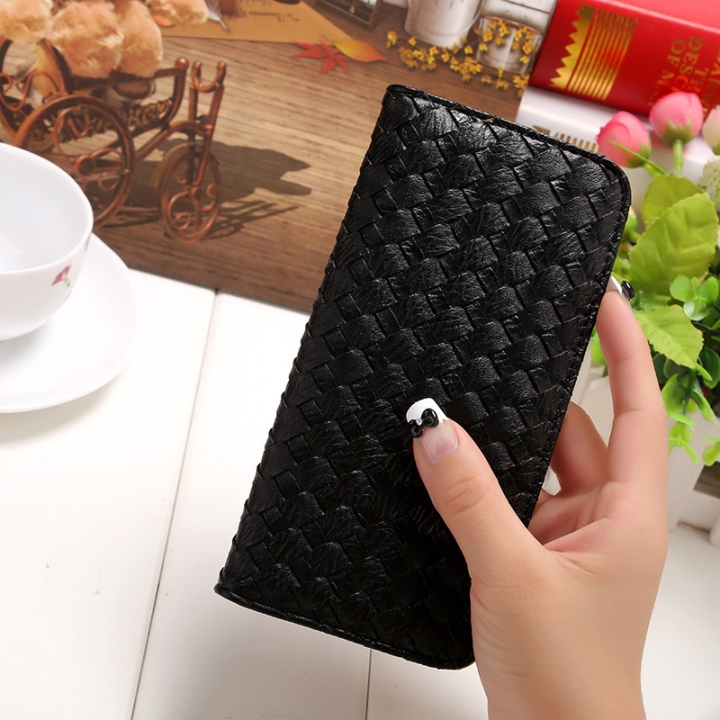 The New Long Section Weave Ms Lovely Coin Purse Fashion Leisure  Thin Section Wallet black one size