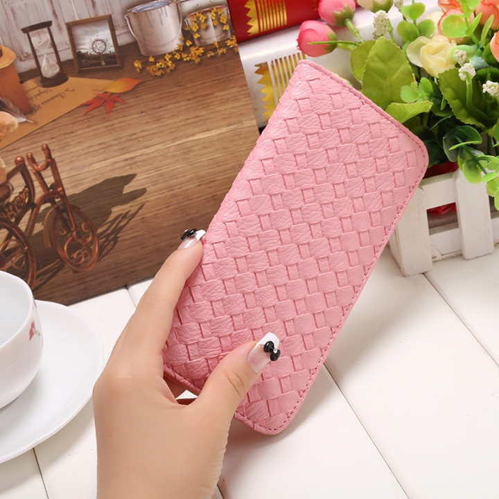 The New Long Section Weave Ms Lovely Coin Purse Fashion Leisure  Thin Section Wallet pink one size