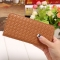 The New Long Section Weave Ms Lovely Coin Purse Fashion Leisure  Thin Section Wallet coffee one size