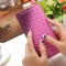 The New Long Section Weave Ms Lovely Coin Purse Fashion Leisure  Thin Section Wallet purple one size