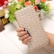 The New Long Section Weave Ms Lovely Coin Purse Fashion Leisure  Thin Section Wallet gold one size