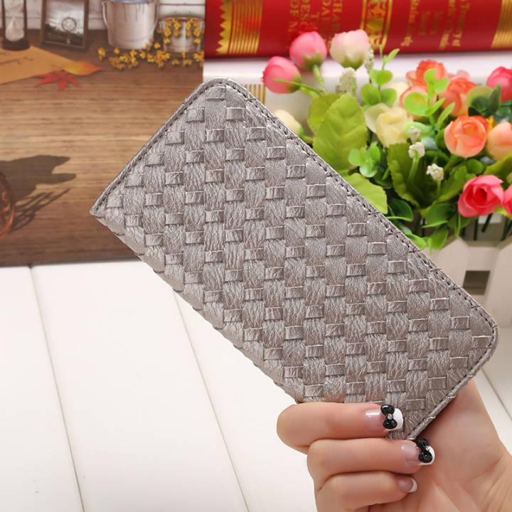 The New Long Section Weave Ms Lovely Coin Purse Fashion Leisure  Thin Section Wallet silver one size