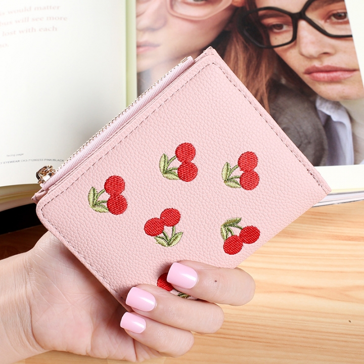 Small Wallet Short Section Embroidery Mini Student Small Fresh fold Ultra Thin Coin Coin Purse pink one size