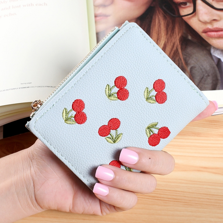 Small Wallet Short Section Embroidery Mini Student Small Fresh fold Ultra Thin Coin Coin Purse ligth green one size