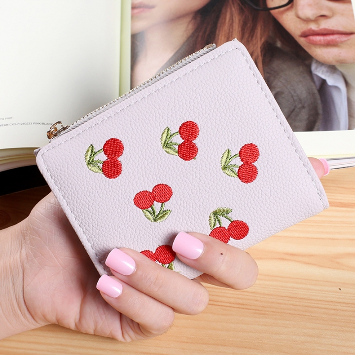 Small Wallet Short Section Embroidery Mini Student Small Fresh fold Ultra Thin Coin Coin Purse gray one size