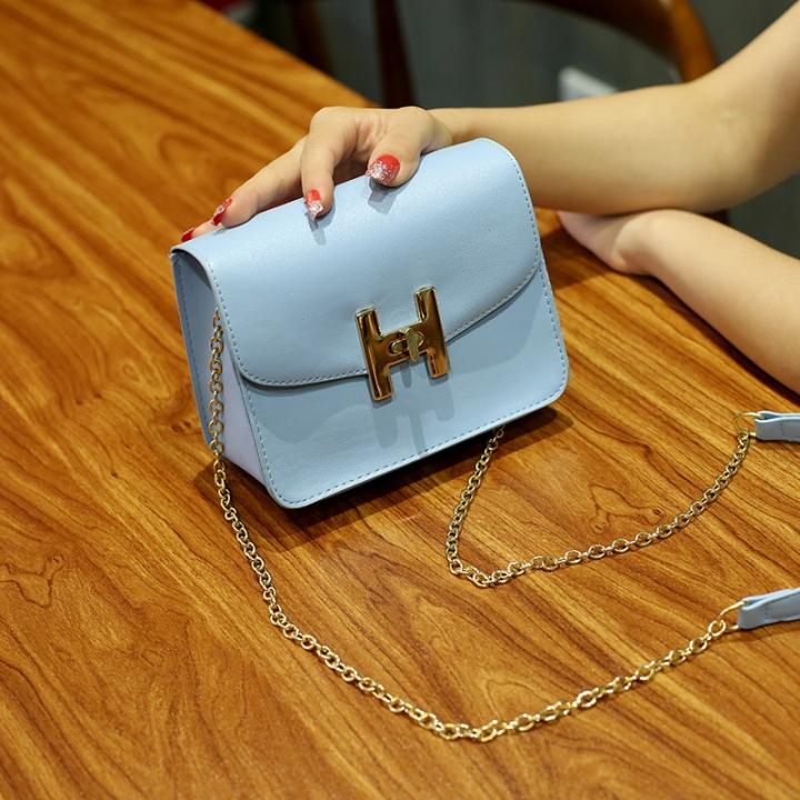 The New Small Square Bag Mini Bag Chain Bag Ms Fashion Leisure Shoulder Messenger Bag sky blue one size