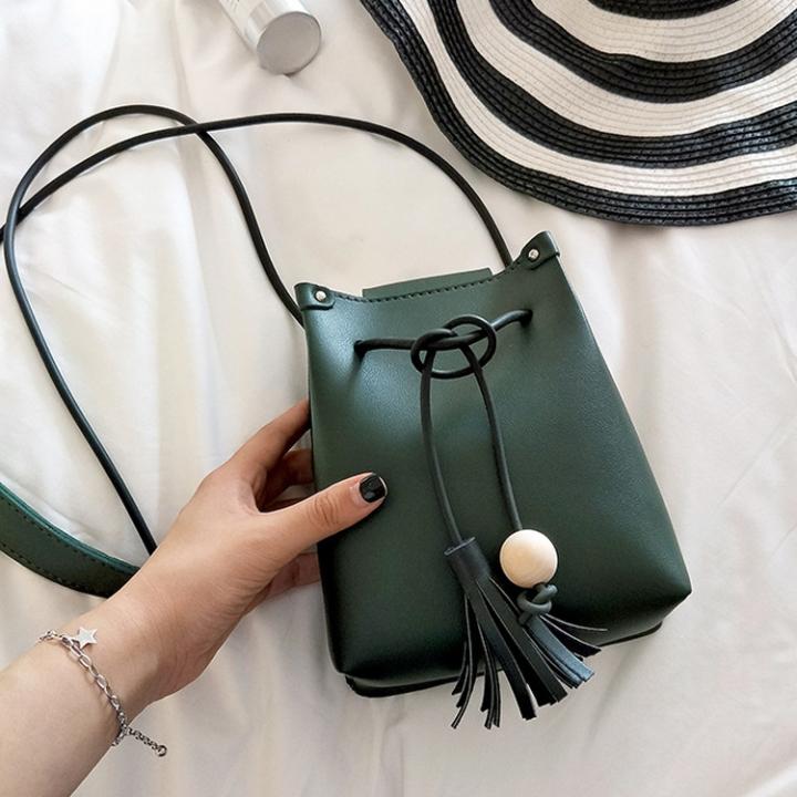 Lady bags Mini Tassel Bucket Bag Small Change Leisure Mobile Phone Bag Messenger Bag green one size